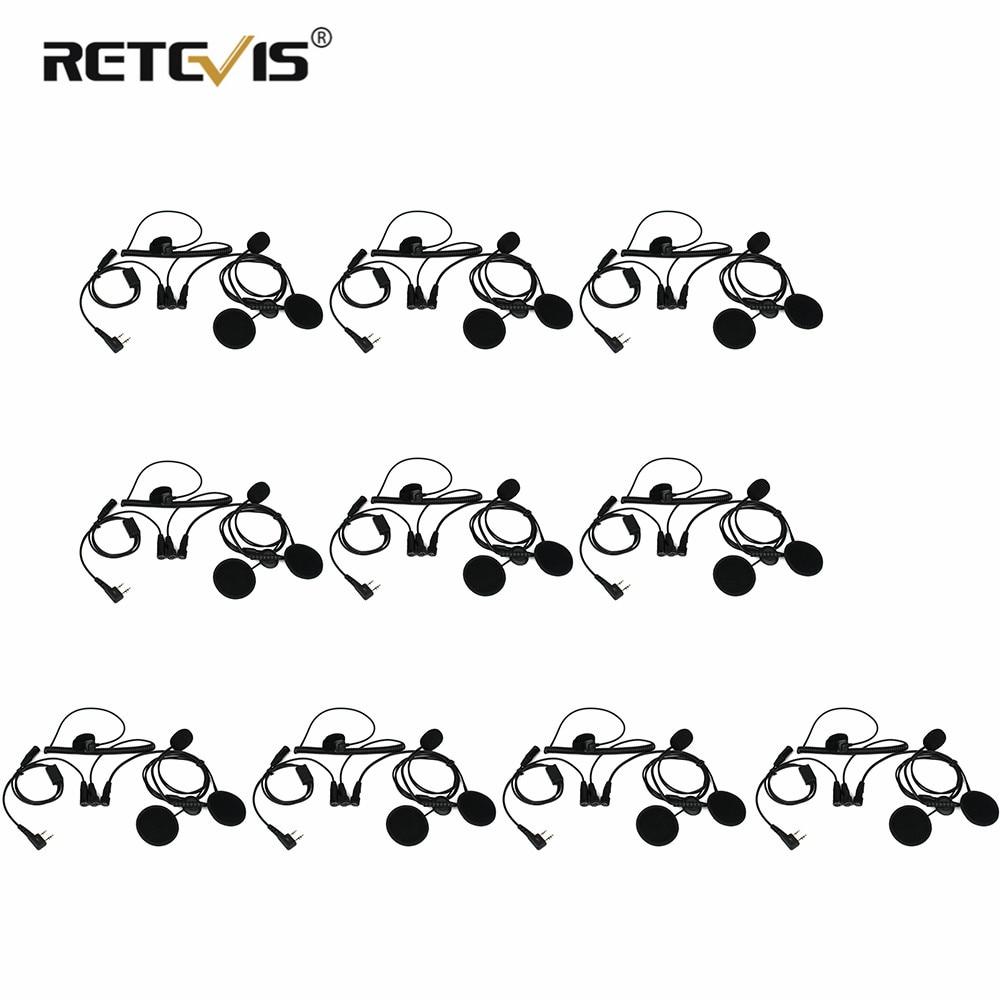 Retevis 10 قطعة 2 دبوس إصبع PTT دراجة نارية خوذة راديو سماعة ميكروفون ل كينوود BAOFENG TYT هام راديو اسلكية تخاطب C9191A