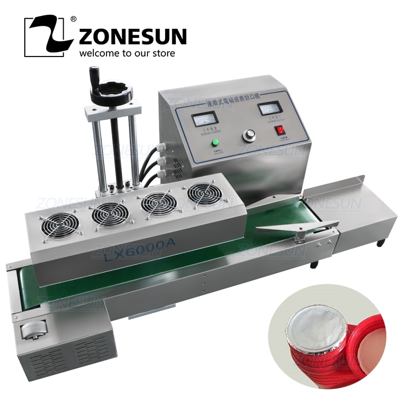 ZONESUN DL-1800 Desktop stainless steel Continuous Induction Sealer,magnetic induction sealing machine,suit for 15-80mm diameter