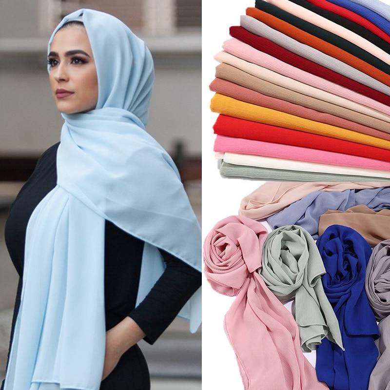 2021 Fashion Women Solid Chiffon Headscarf Ready To Wear Instant Hijab Scarf Muslim Shawl Islamic Hi