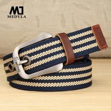 Cinturón con hebilla de Pin para hombre, cinturones casuales de diseñador, cm de ancho de 3,8 de lona, cinturón de moda para estudiantes, MD821