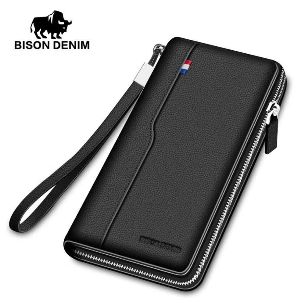 BISON DENIM-محفظة رجالية من الجلد الطبيعي بسحاب ، سعة كبيرة ، حامل بطاقات