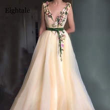 Champagne robes de bal col en v Appliques avec des fleurs à la main a-ligne Tulle longue robe de soirée arabe robe de soirée pour lobtention du diplôme