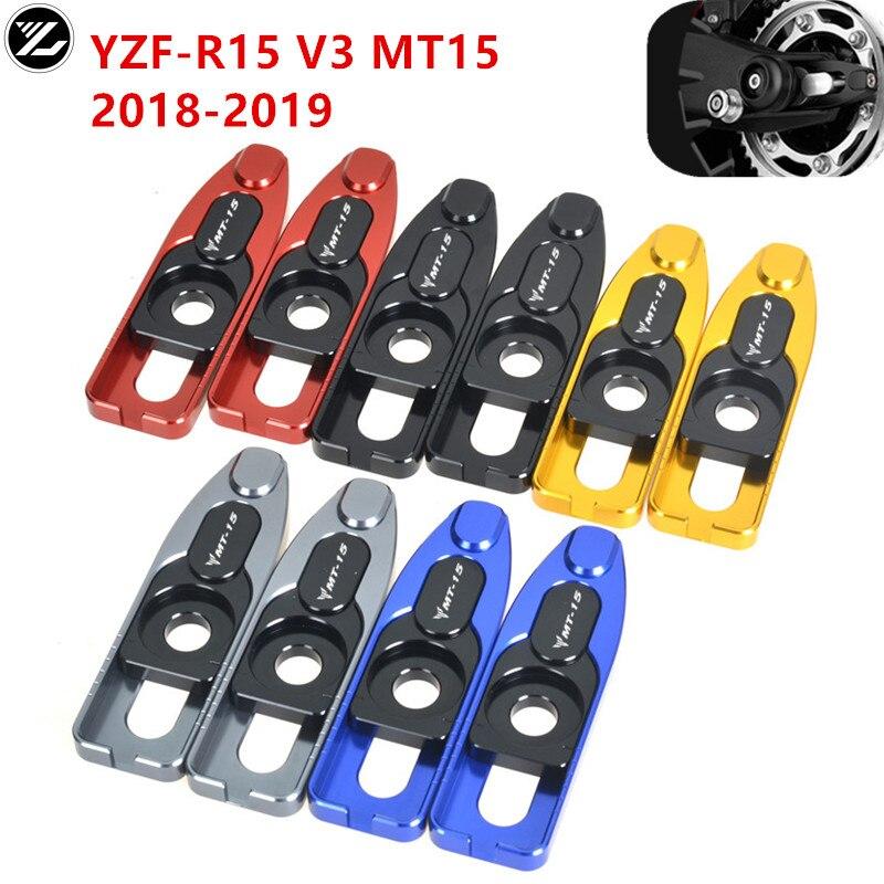 Para YAMAHA R15 V3 MT-15 MT15 MT 15 2019 accesorios de motocicleta CNC regulador de cadena de eje trasero tensor Catena carrete