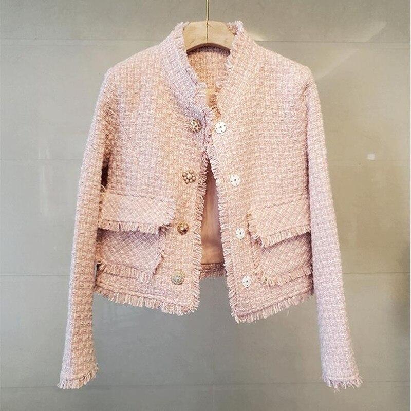 جاكيت تويد كلاسيكي نسائي موضة خريف 2021 برائحة صغيرة واحدة الصدر معطف أنيق كوري ملابس خارجية فضفاضة للسيدات