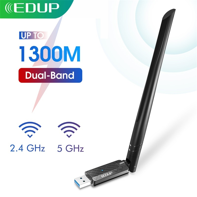AliExpress - EDUP Wifi Adapter USB 3.0 AC 1300Mbps Dual Band 2.4G/5.8G Wireless Network Card 802.11AC Wi-Fi Dongle for Laptop Desktop PC Mac