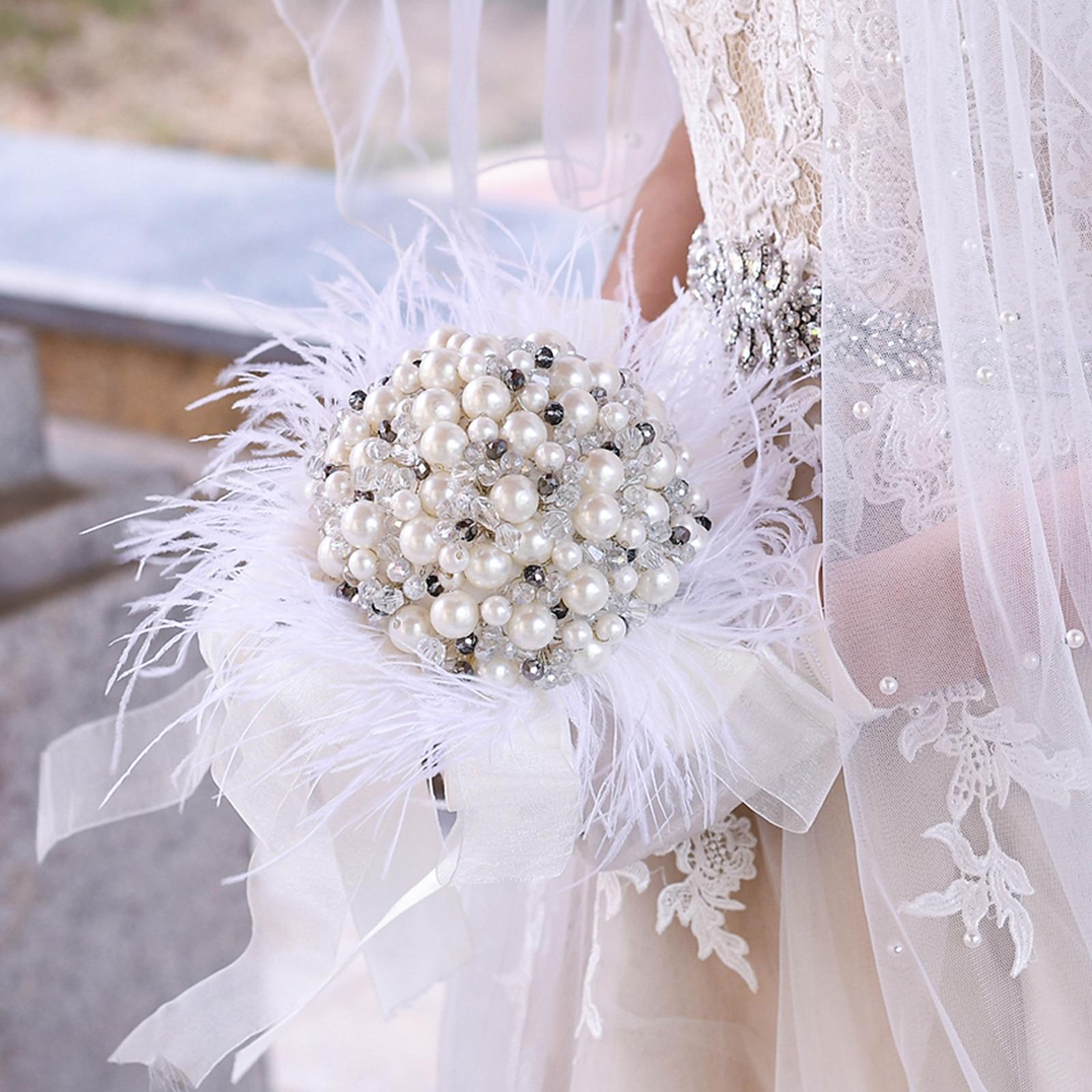 Wedding Bouquets For Bride Wedding Flower Bridal Bouquet Bridesmaid Bouquet Flowers Pearl Rhinestone Feather Bouquet Bridal недорого