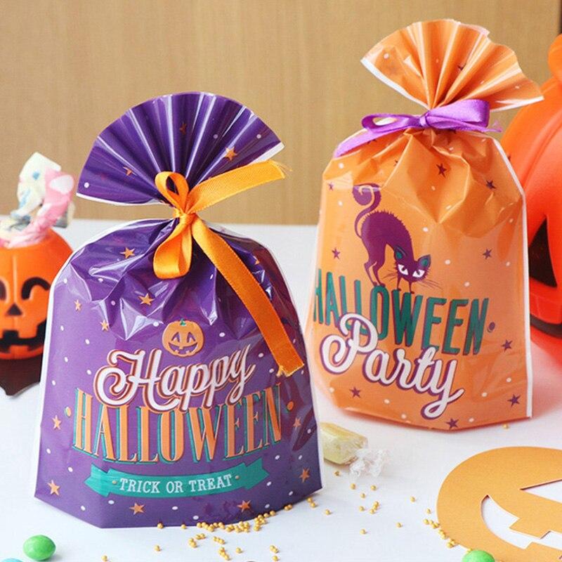20 pçs sacos de presente de halloween sacos de doces de biscoito saco de plástico lanche biscoito cozimento embalagem festival festa de halloween decoração