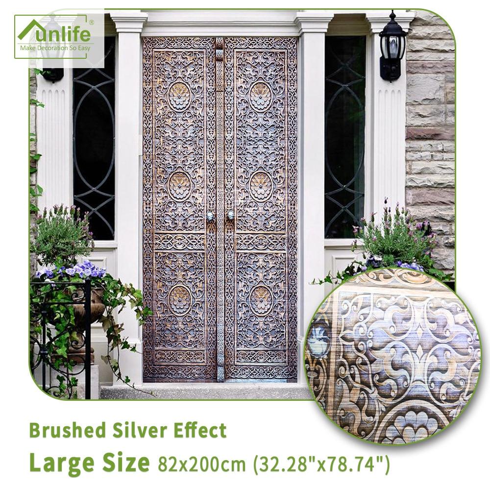 82x200cm PVC Brushed Silver Effect Door Stickers For Living Room Bedroom Adhesive Wallpaper Home Decor Waterproof Decal Murals
