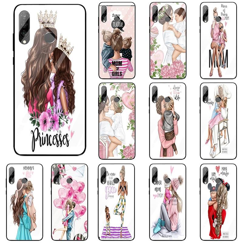 Fundas de teléfono de cristal templado marrón para niñas y bebés para Huawei Honor 9 10 6X 8 8A Mate 20 P20 P30 Lite Pro Bags