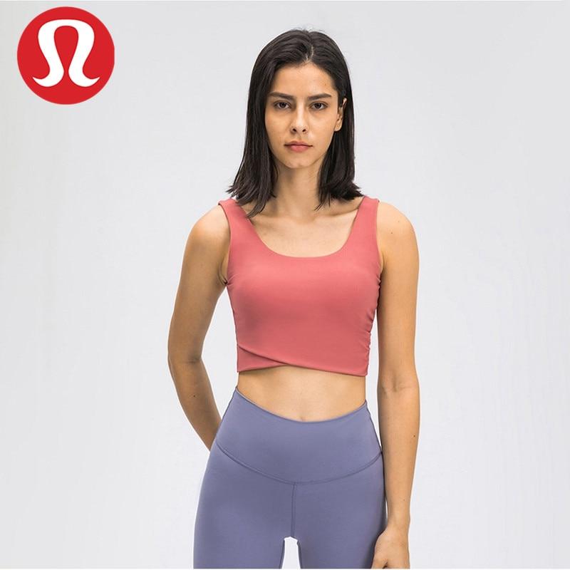 Lulu-sujetadores de parte delantera, chaleco cruzado, Yoga, Fitness, deportes, novedad de verano,...
