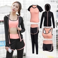 hot selling 5 piece women yoga set womens cycling shorts sportswear gym fitness clothing woman fitness running tracksuits