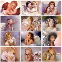5d diy diamond painting angel baby full square round drill diamond embroidery kids cross stitch portrait rhinestone pictures