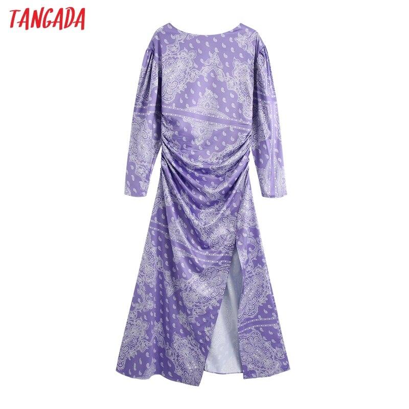 Moda de mujer Tangada vestido púrpura estampado floral otoño 2020 manga larga damas plisado Vestidos largos BE633