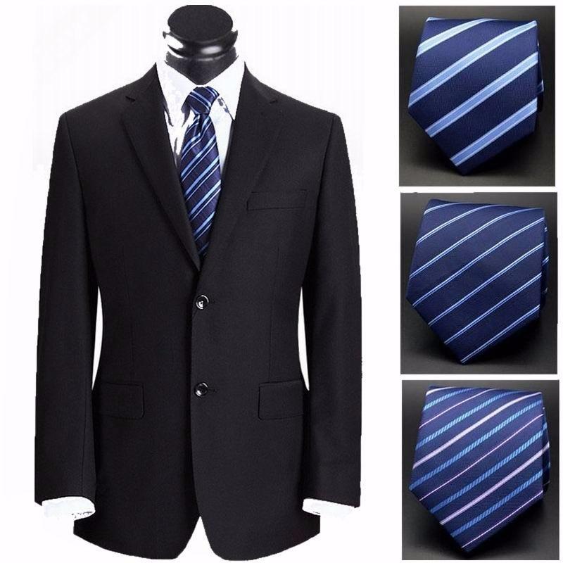 Модные галстуки классические мужские галстуки в полоску темно-синие свадебные жаккардовые галстуки студийные мужские однотонные галстуки...