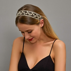 QUEEN ELISA Pearl Headband for Women Girl Lace Hair Bands Black Hair Accessories Hair Clips 2021 New Elastic Headwear Wholesale