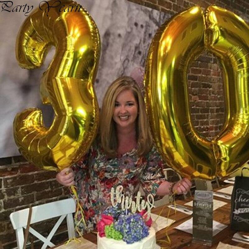40 pulgadas globo grande de oro decoración para bodas globo helio 30 cumpleaños decoración número bolas de cumpleaños para adultos