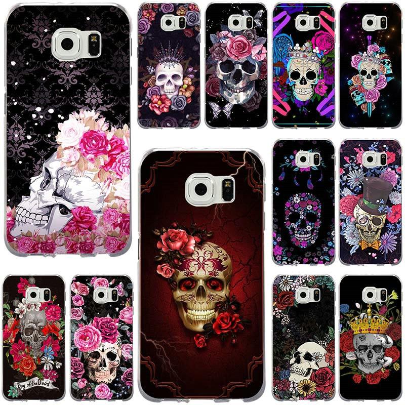 Día de la muerte esqueleto flores funda de teléfono para Samsung Galaxy Note 2 3 5 8 9 S2 S3 S5 mini S6 S7 S8 S9 S10 Edge Plus Lite