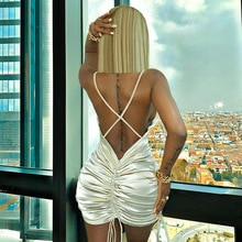 Sexy Women Solid Color Halter Mini Dress Casual Back Shirring Hollow Out Sleeveless Package Hip Skir