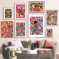 colorful abstract girl model flower vogue wall art canvas painting nordic posters and prints wall pictures for living room decor