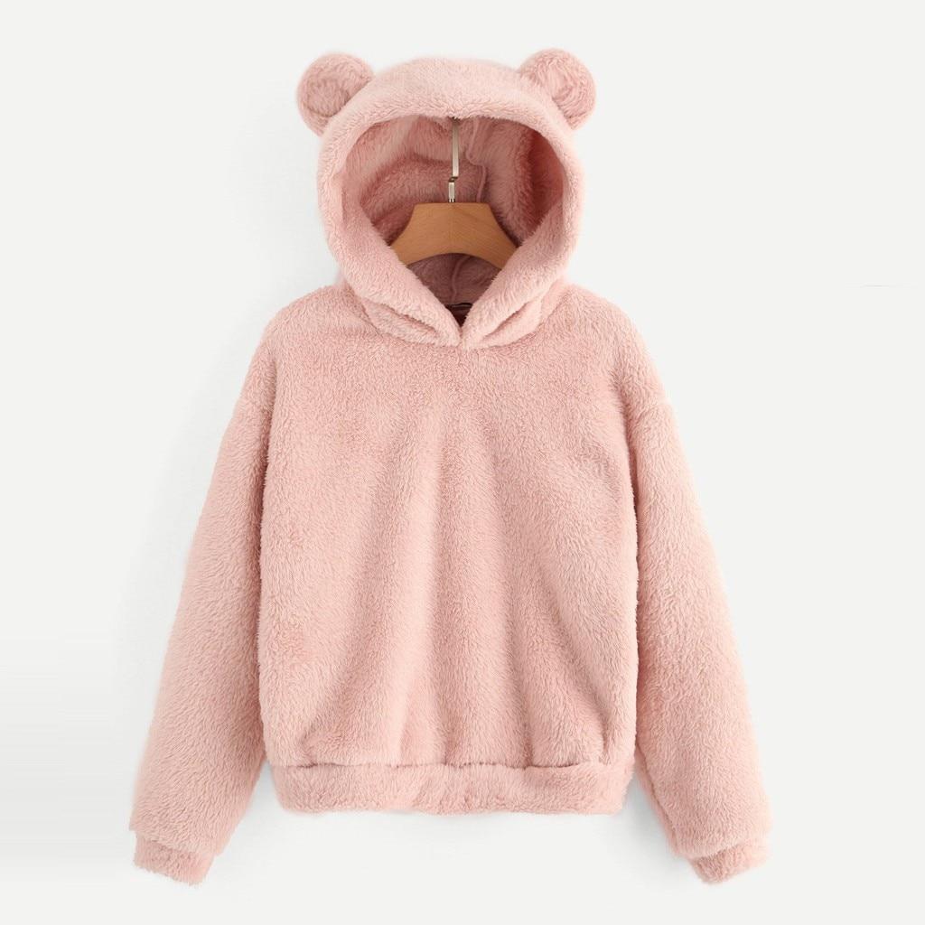 Womens Warm Fleece Hooded Sweatshrit Hoodies Winter Jumper Tops Coat Cute Cat Ear Shape Fuzzy Hoodies Sweatershirt for Girl