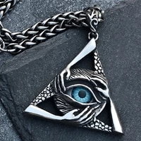 all knowing eye triangle titanium steel necklace mens personality retro pendant elegant design quick delivery