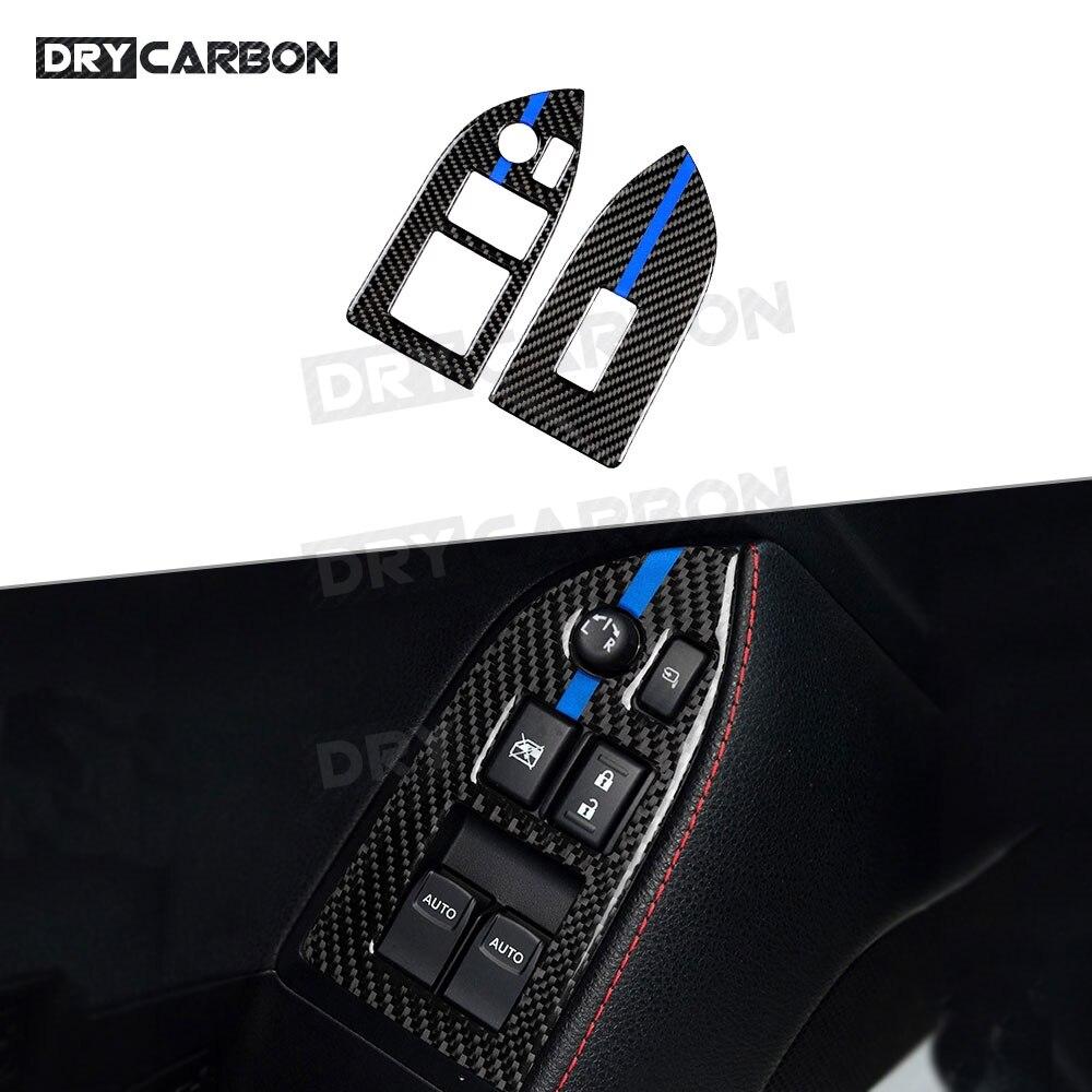 Para Toyota GT86 FT86 ZN6 Subaru BRZ 2013-2017 fibra de carbono puerta elevador de ventana interruptor botones moldura de cubierta de Marco pegatinas