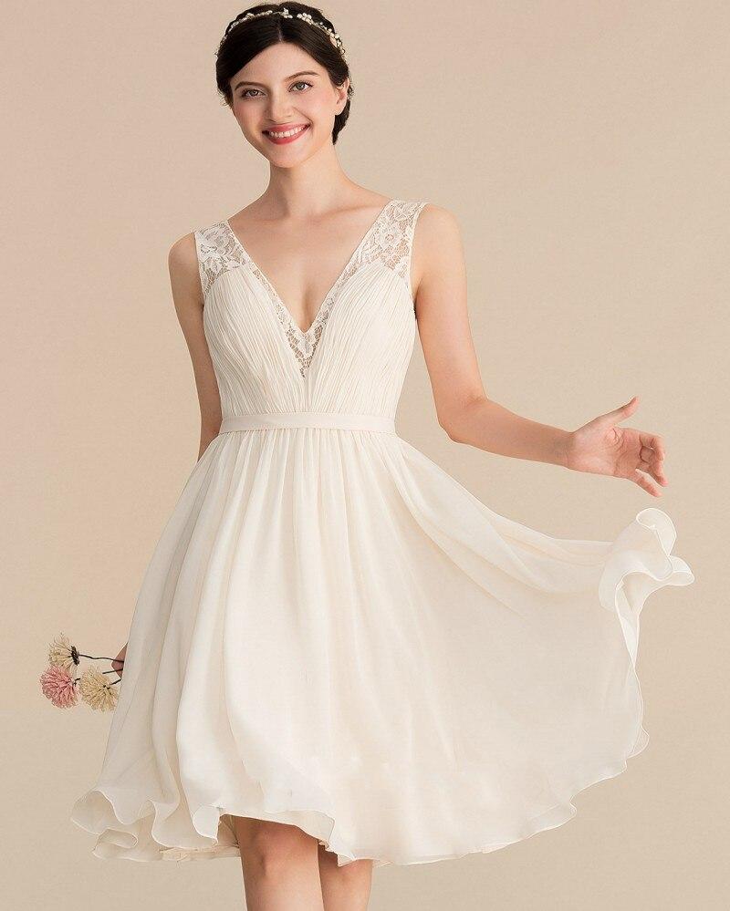 A-الخط رقبة v طول الركبة شيفون دانتيل فستان الزفاف 2021 مع كشكش زفاف رداء حفلات أنيق رداء De Mariage Vestidos Noiva