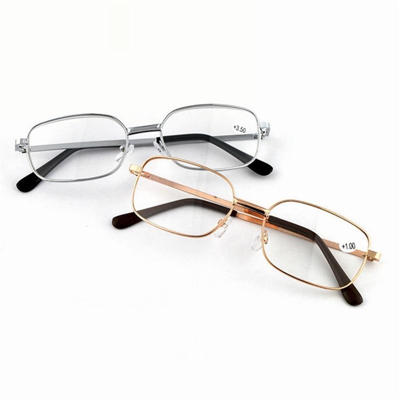 Lens Metal Reading Glasses Square Frame Alloy Men Women Presbyopic Glasses Portable Lightweight Freeshipping Cheap Gafas +200