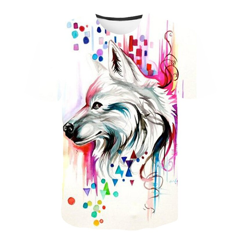 2019 Summer New Men  Wolf series 3D Print T-shirt S-6XL Plus Size O-neck Short Sleeve Fashion Casual Tops tee
