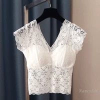 lace tank for women shoulder strap short with chest pad slim fit skinny sexy inner wear all matching crop top solid color lady