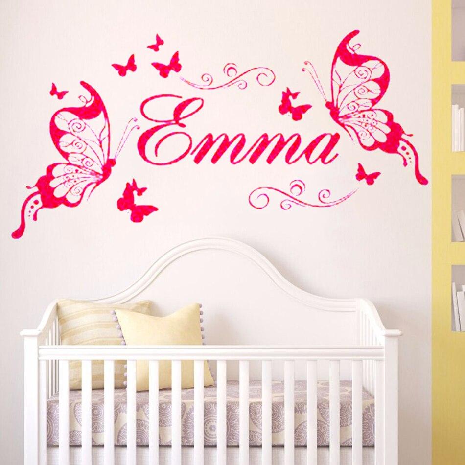 Calcomanía de pared YOYOYU Emma, decoración de habitación de niña, nombre adhesivo para pared de mariposa para habitación de niños, Póster Artístico de vinilo YO150