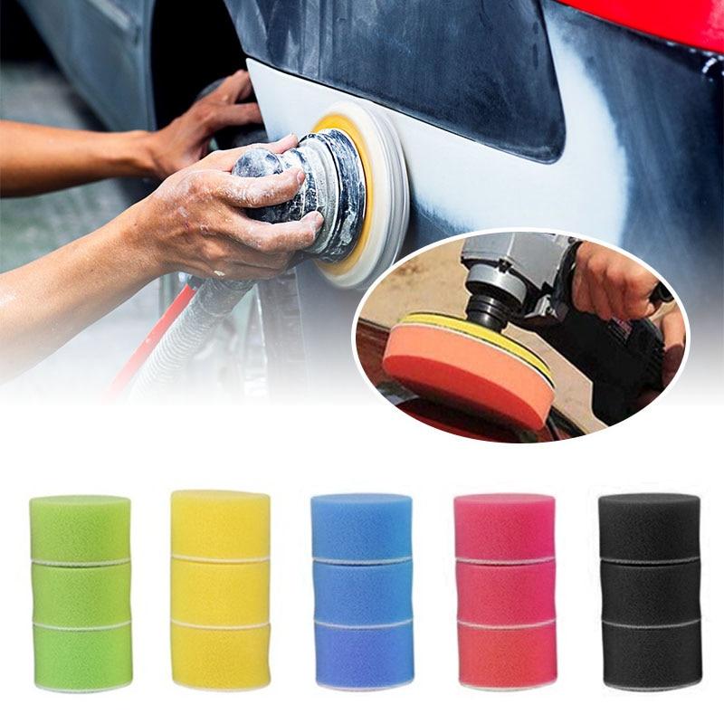 """16 unids/set 2 """"Almohadilla de pulido almohadilla de espuma pulido redondo pulido esponja para la pintura del coche de cubo de rueda de auto cuidado accesorios de coche"""