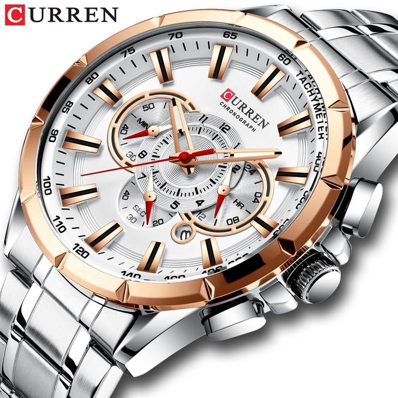 Mens Watches Top Luxury Brand CURREN Men Full Steel Watches Quartz Watch Analog Waterproof Sports Army Military WristWatch