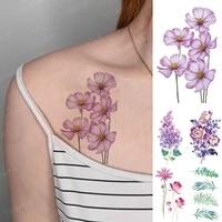 3d waterproof temporary tattoo sticker daisy lavender peony realistic color flower flash tatoo woman arm body art fake tatto man