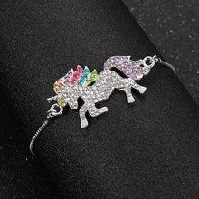 Fashion Jewelry Unicorn Charm Crys Metal Chain Bracelets for women Girl Jewelry Gift