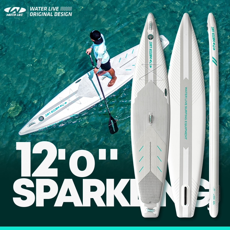 """WATERLIVE SPARKING Professional Long Time Voyage Surfboard 12'0"""" Steering Skid Pedal Design Aquatic Sports Inflation Sup Board"""