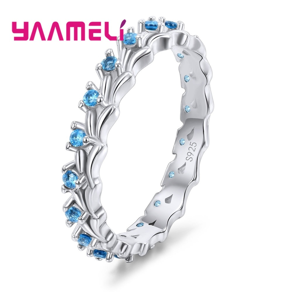 Последние Аутентичные 925 стерлингового серебра Для женщин стекируемые кольца Сияющий синий кубического циркония ручной Металл высокого кл...
