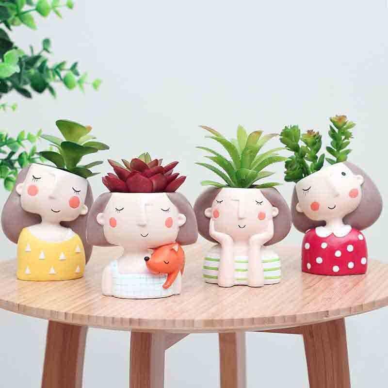 4 unids/set maceta de niña de las flores de estilo europeo suculenta planta plantador maceta Mini cactus bonsai maceta de La Flor decoración del hogar artesanal