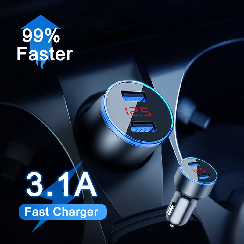 OKZ Quick Car Charger For Mobile Phone Universal Dual Usb Adapter For iPhone 11 Pro Max Mini Adapter