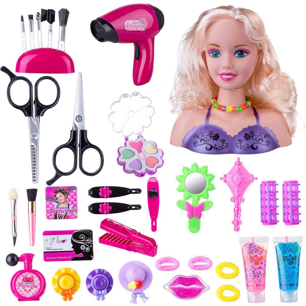 Детский модный макияж, ролевой набор, голова для укладки, кукла, Детская прическа, игрушка для красоты с феном, подарок на день рождения для д...