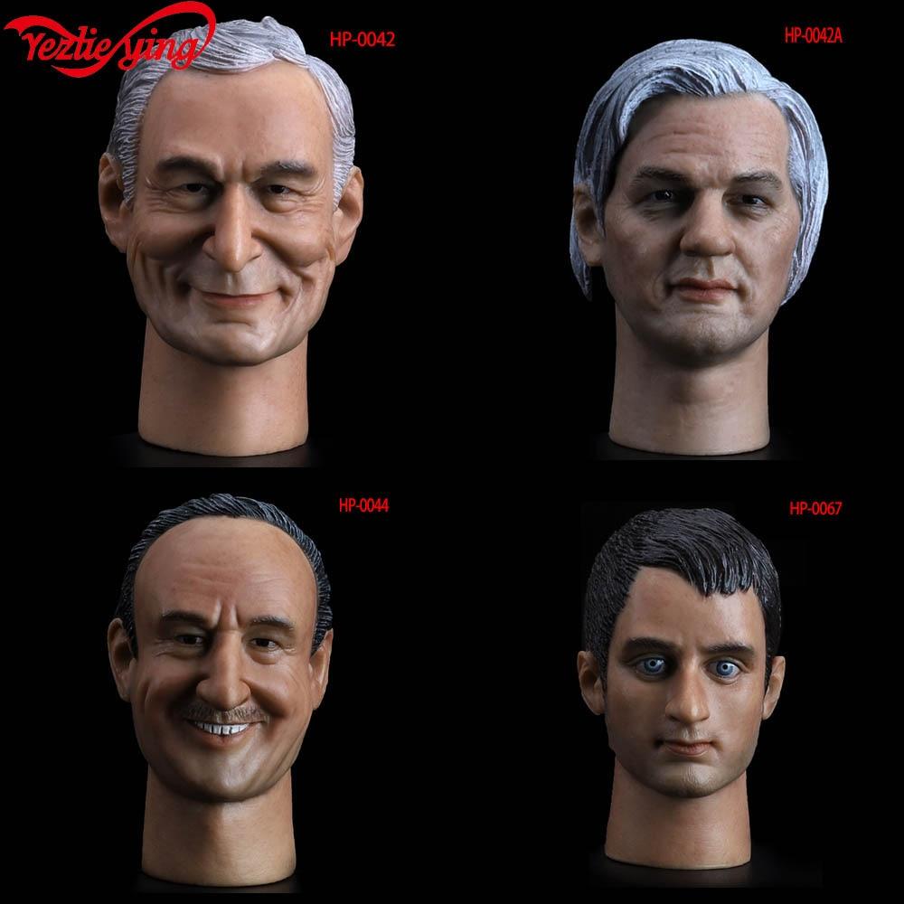"1/6 Male Head Sculpt HP-0044 Gene Hackman/HP-0067 Elijah Wood/HP-0042 Hugh M. Hefner Male Head Carving Model F 12""Hottoys Figure"