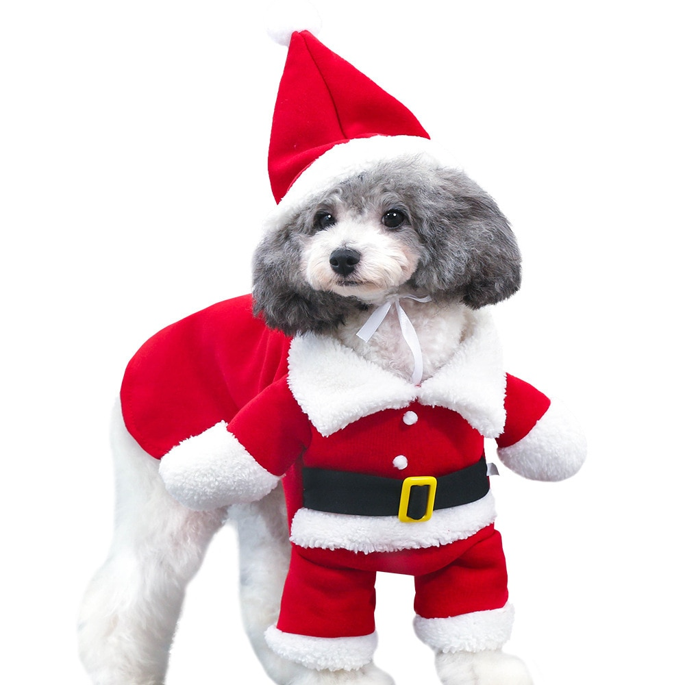 2019 nova roupa de natal do gato do cão de estimação papai noel traje de inverno do animal de estimação casaco terno do cão com boné
