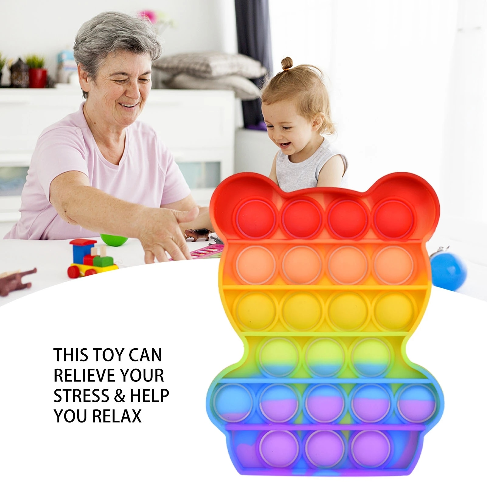 4pcs/Set Push Bubble Fidget Anti Stress Relief Toy Kids Rainbow Board Game Gifts Children Fun Pressure Reduction Toys enlarge