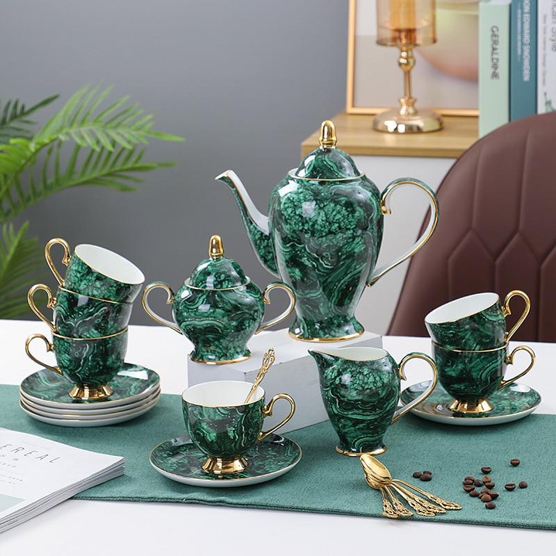 فاخر الأخضر إبريق شاي سيراميك وعاء الفناجين وأطباقها مجموعة عالية الجودة الخزف بعد الظهر الشاي القهوة عصير الفاكهة المياه زهرة غلاية