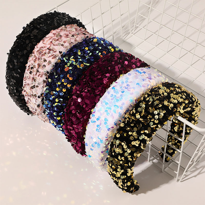 Fashion Full Sequin Luxury Hair Accessories Hairbands Sparkly Padded  Headbands Headdress Colorful Sponge Hoop Women Headband