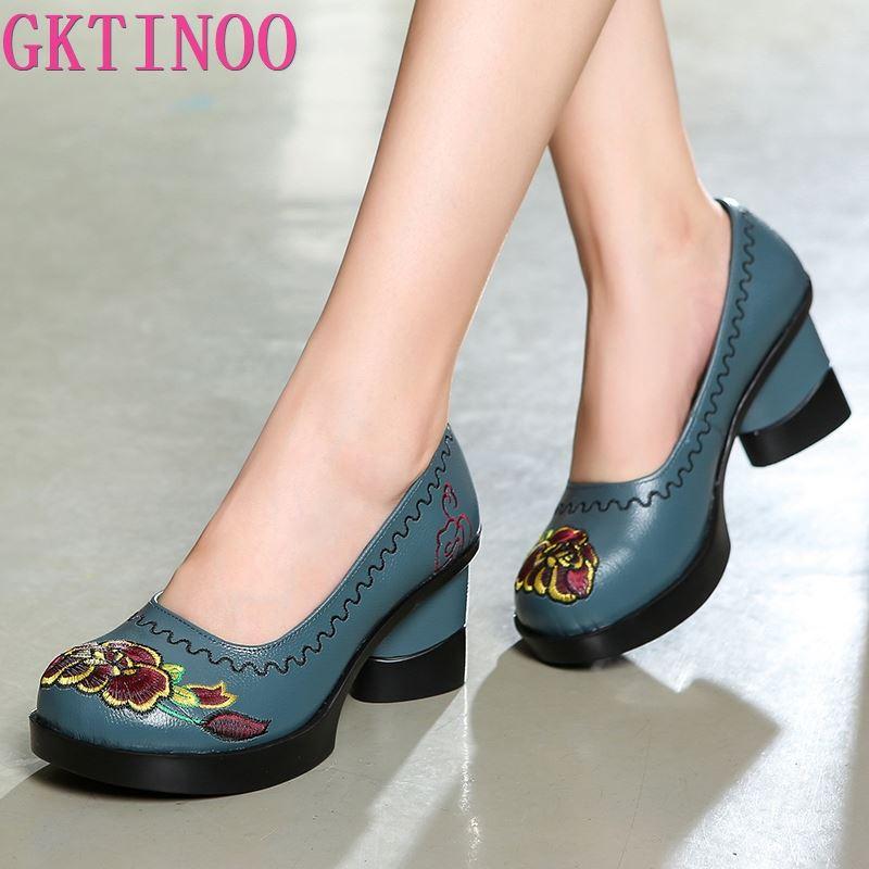 GKTINOO-حذاء نسائي بكعب عالٍ مطرز ، حذاء نسائي بكعب عالٍ 7.5 سنتيمتر ، مصنوع يدويًا ، من الجلد الطبيعي ، لفصل الربيع