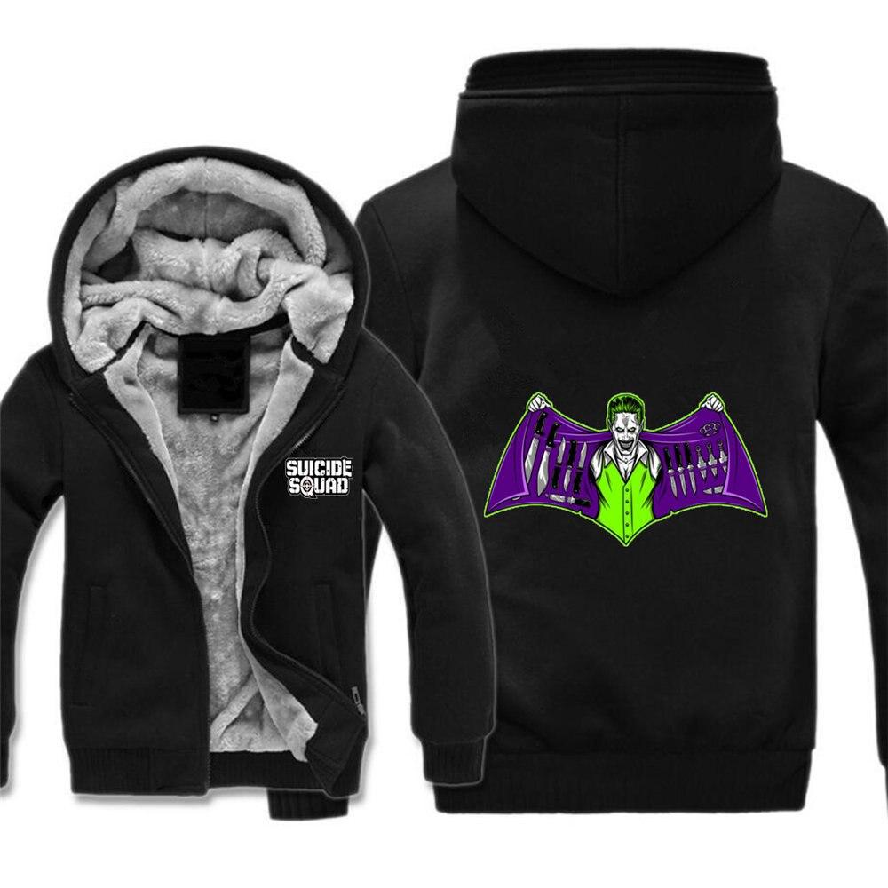 Comics escuadrón suicida chaqueta Harley Quinn Joker Cosplay capa con capucha de lana Unisex espesar chaqueta sudaderas ropa superior