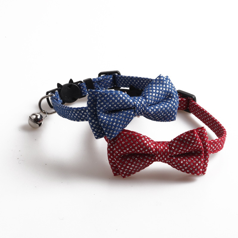 Lentejuelas plata Bowknot collares de gato patrón de punto pequeño pajarita para perro ajustable cachorro gatos y mascotas accesorios gatos Collar Canino con B