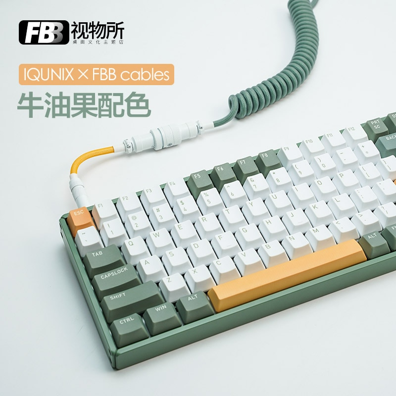 FBB الكابلات الأفوكادو موضوع كولورواي IQUNIX لوحة المفاتيح الميكانيكية F96 مخصصة دوامة لوحة المفاتيح كابل بيانات مخصصة خط Keycap