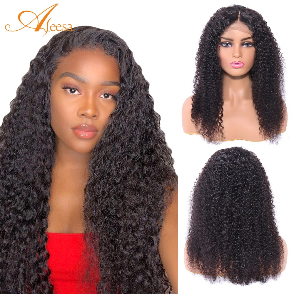 ALEESE 4X4 Lace Front Human Hair Kindy Curly Wave Wigs For Women Human Hair Curly Bob Wig Natural Hair Brazilian Remy Swiss Lace